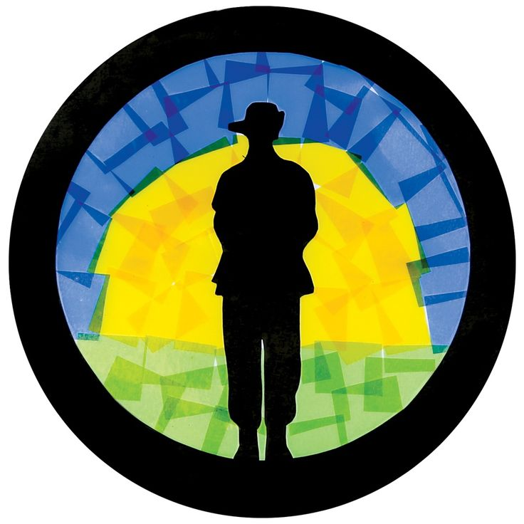 Stained Glass Soldier Silhouette - CleverPatch