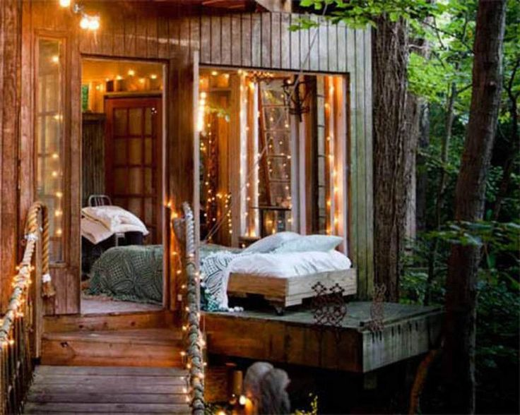 Fairylights, a footbridge and beautiful timber create the ultimate space to relax tucked away amongst the trees.