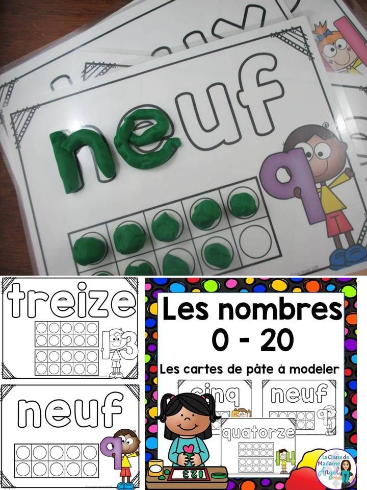 Les cartes de pâte à modeler avec les nombres. French set of play dought mats for the #0 - 20. It is great that these come in colour and black and white.