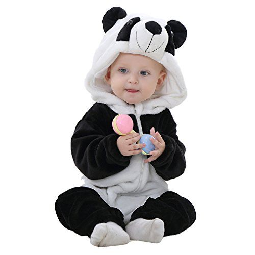 Idgirl: Unisex baby Winter Flannel Romper Panda Outfit - Made of flannel and is both machine and hand washable.