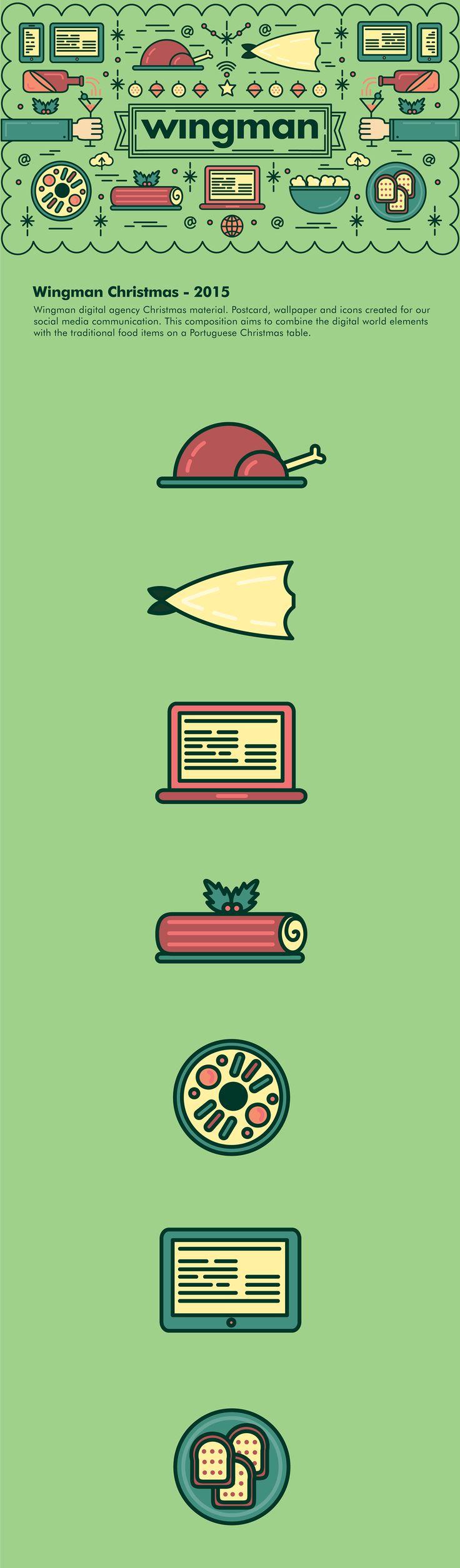 2015 Christmas communication for Wingman digital agency,social networks.