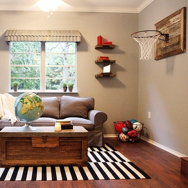 Use wood accents on the interior to help balance different colors and patterns in a space #fixerupper @hgtv
