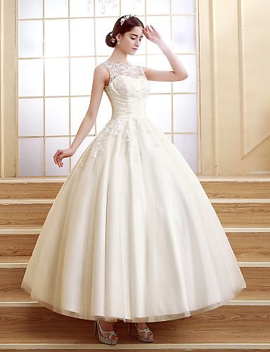 Ball Gown Scalloped-Edge Ankle-length Wedding Dress (Tulle) – USD $ 151.99