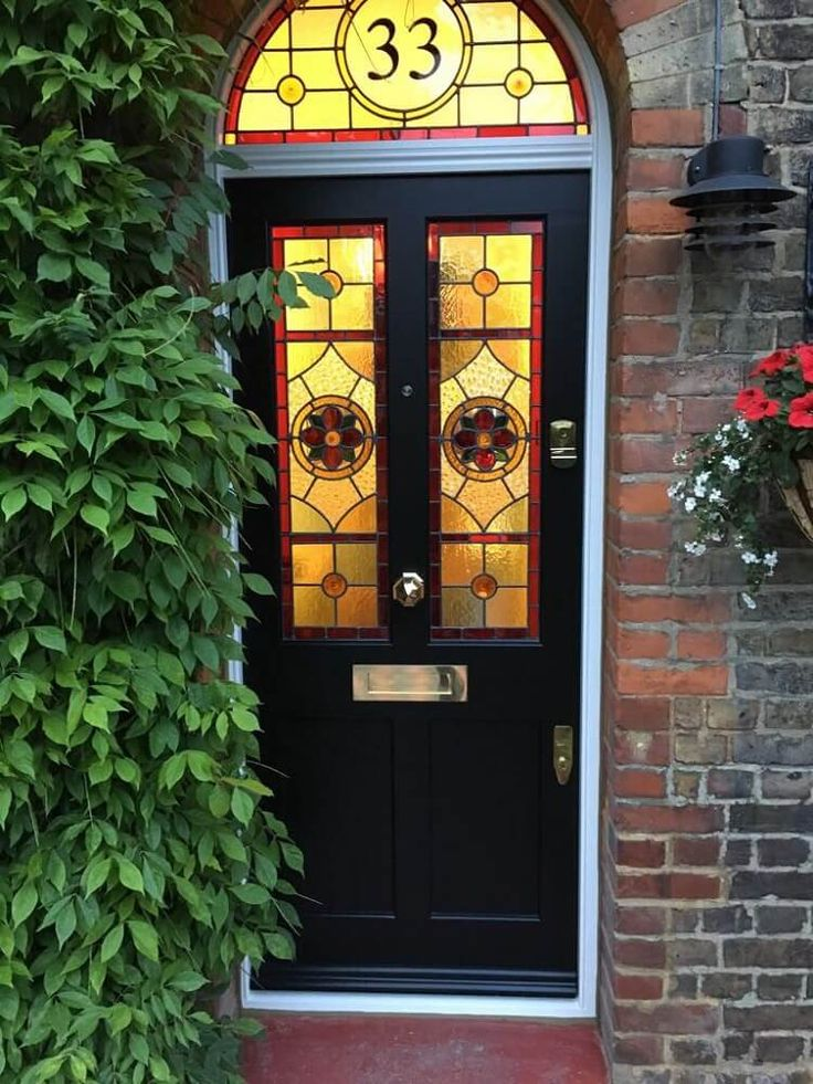 Timber Front Door with Stained Glass by The Sash Window Workshop