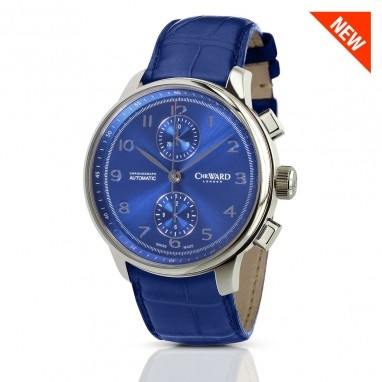 C9 Harrison, Sapphire Blue/Alligator Edition Automatic Chronograph, C9-CHR-SBBR - Christopher Ward