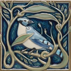 Rookwood bluejay tile