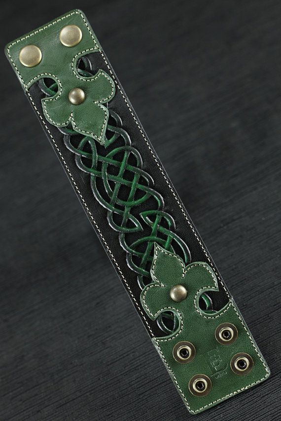 "Celtic Clover Leather Cuff~ 2""wide. Intricate tooling and airbrushing highlight the filigreed knot-work design by Chad Little at EthosCustomBrands on Etsy  Chad does exceptional work."
