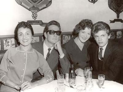 Buddy Holly with his wife  María Elena Holly (far left of photo) with Phil Everly and a then gal pal of Phil's - 1958
