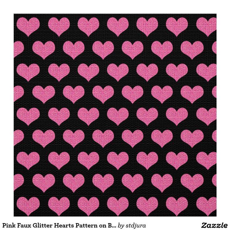 Pink Faux Glitter Hearts Pattern on Black Fabric