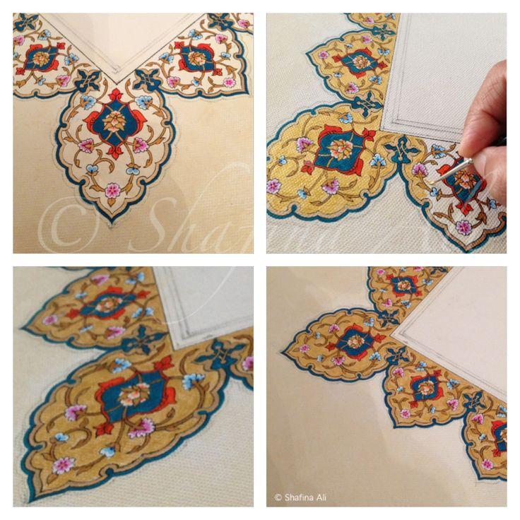 "40""x 20"" acrylic on canvas Hand painted Islamic art Work in progress"