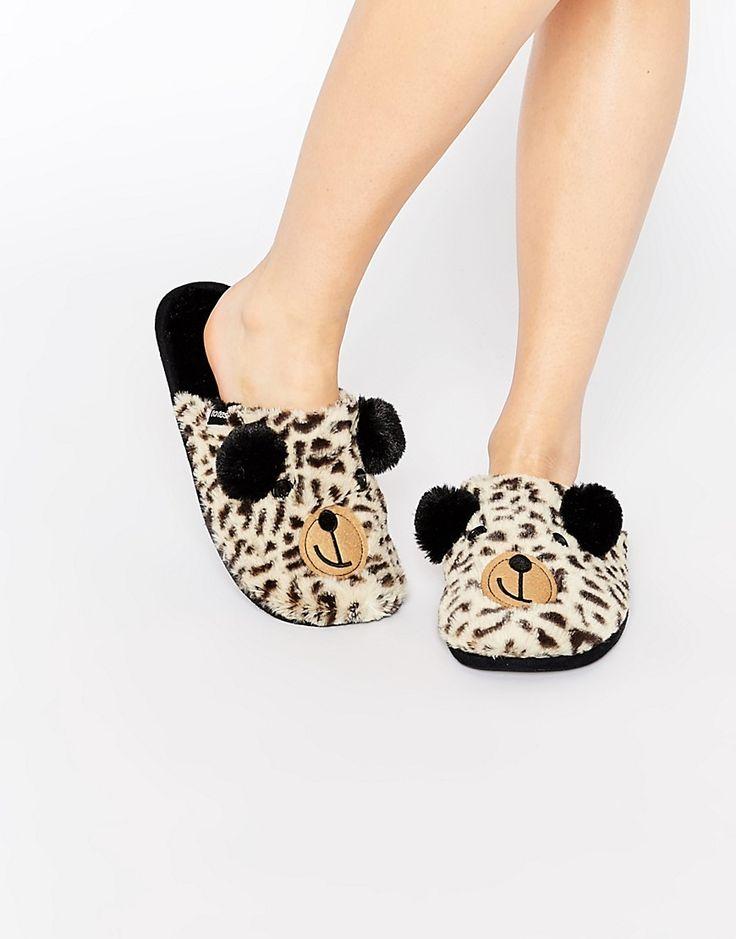 Imagen 1 de Pantuflas estilo chinelas con diseño de leopardo de Totes