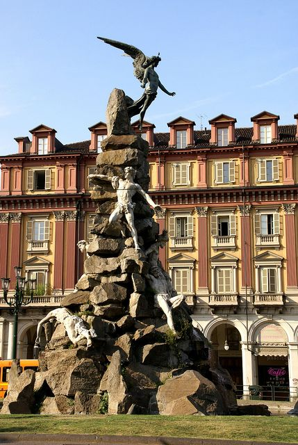 Torino, Piazza Statuto, Monumento al Traforo del Frejus ~~ (The monument on Piazza Statuto commemorates the construction of a major rail links between Italy & France, the Fréjus & Mont Cenis Tunnel, the oldest major Alpine tunnels.)