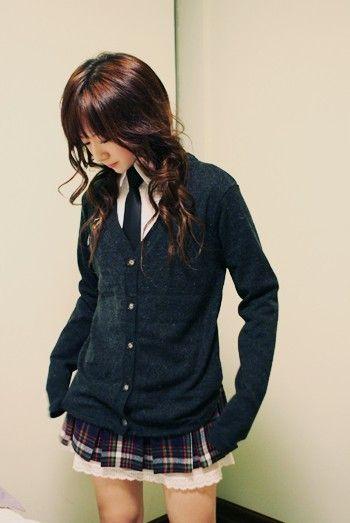 School uniform styled clothes (Not exactly a school uniform, though.)