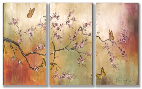 Pink Blossoms and Butterflies Triptych Art Wood Sign at AllPosters.com
