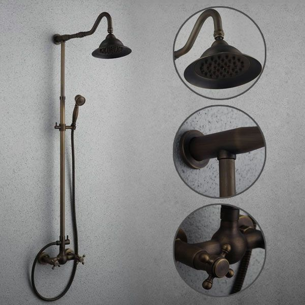 Antique Wall Mount 8 inch Shower Head + Hand Shower Tub Shower Tap - TSA007