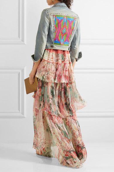 Roberto Cavalli   Embroidered studded denim jacket   NET-A-PORTER.COM