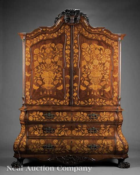 "An Antique Dutch Neoclassical Mahogany and Marquetry Cabinet on Chest, probably early 19th c., branded ""Koopman & Co. 1905"""