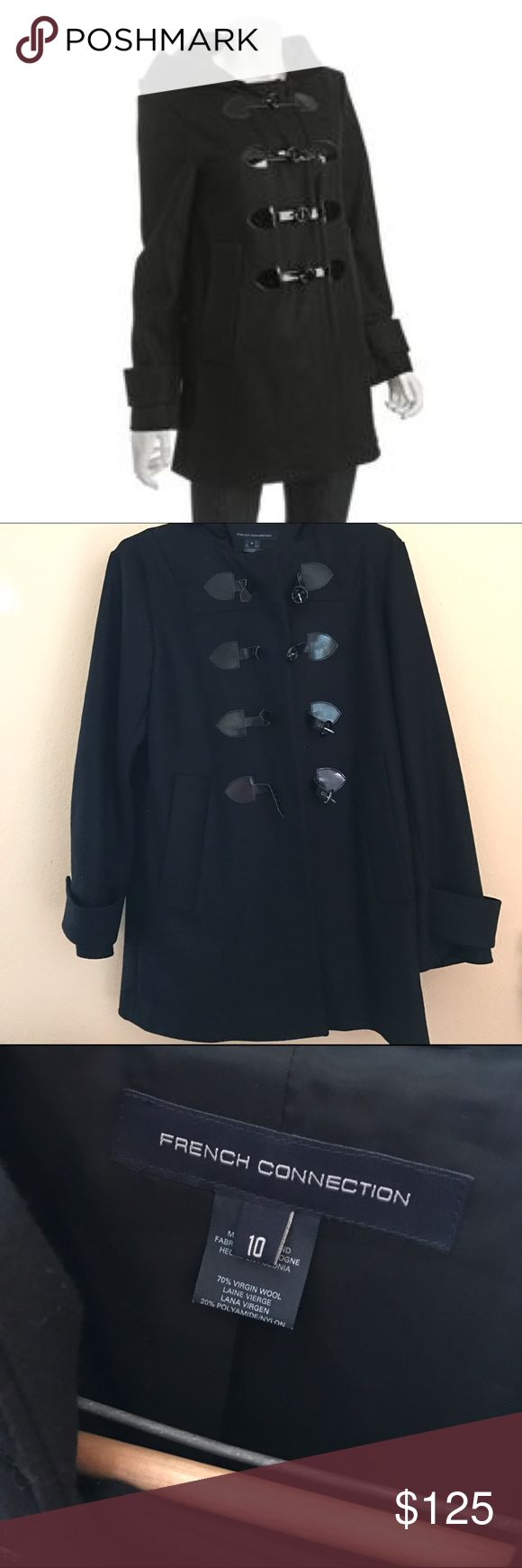 """French Connection Duffle Wool Cashmere blend coat Excellent condition. Size 10. Duffle coat with hood! 70% wool 20% nylon 10% Cashmere. Armpit to armpit 20.5"""" Armpit down 22"""" Shoulders down 32.5"""". French Connection Jackets & Coats"""