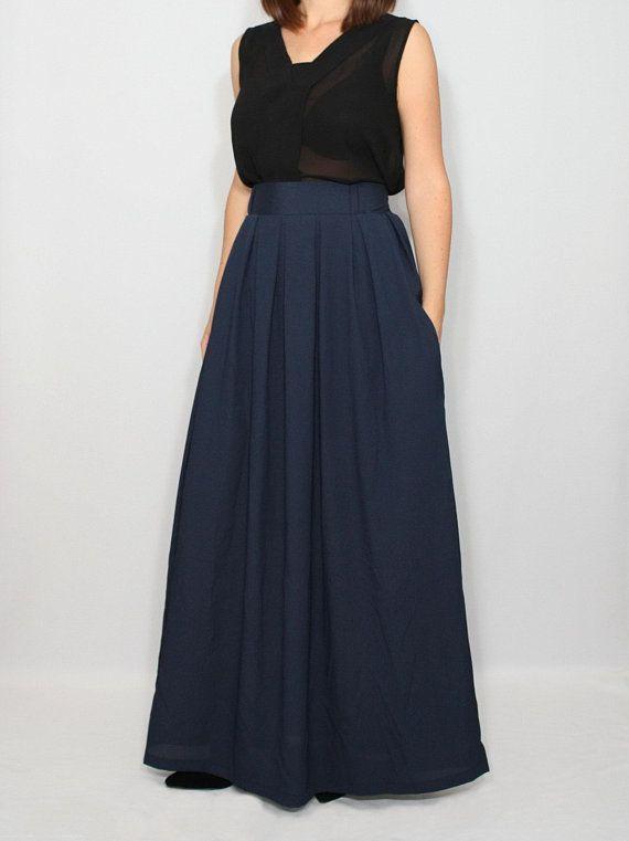 7f3d51fa8c4a Blue maxi skirt with pockets Blue chiffon maxi skirt Navy blue long skirt  Blue plus size maxi ski