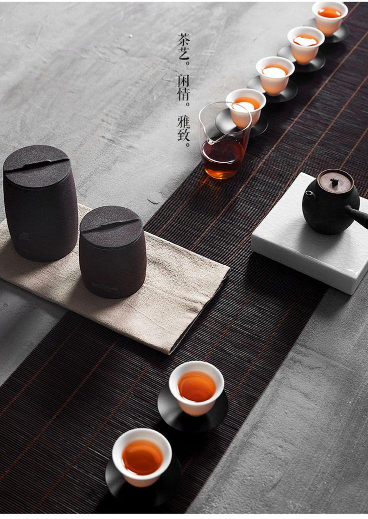Réservoir de boue de roche volcanique de thé brut de poterie céramique d'étanchéité tirelire de thé thé thé bac réservoir pots de stockage de thé rétro - Tuba
