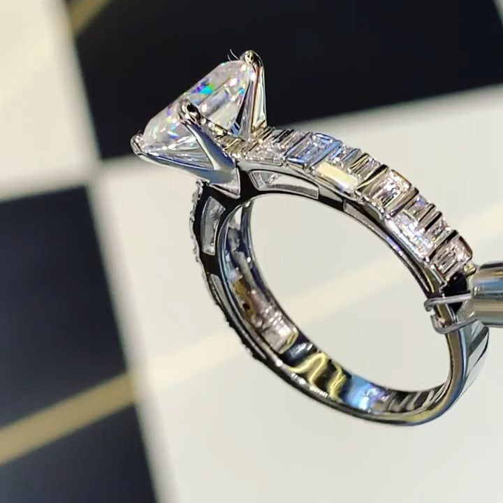 2.00ct Assher Cut Moissanite with diamond baguette band