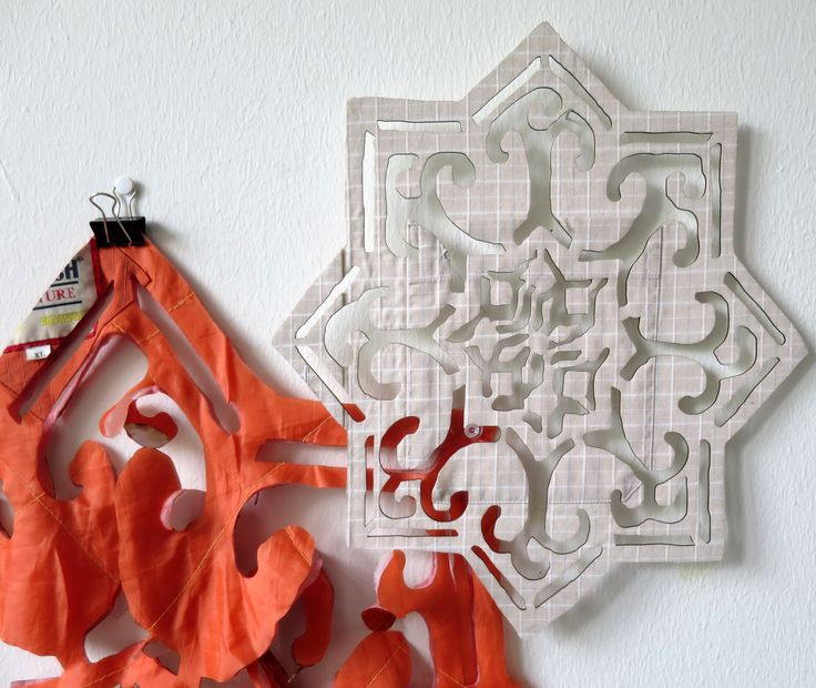 Works in progress. Syrian patterns cut in clothes for traveling. Sanne Ransby