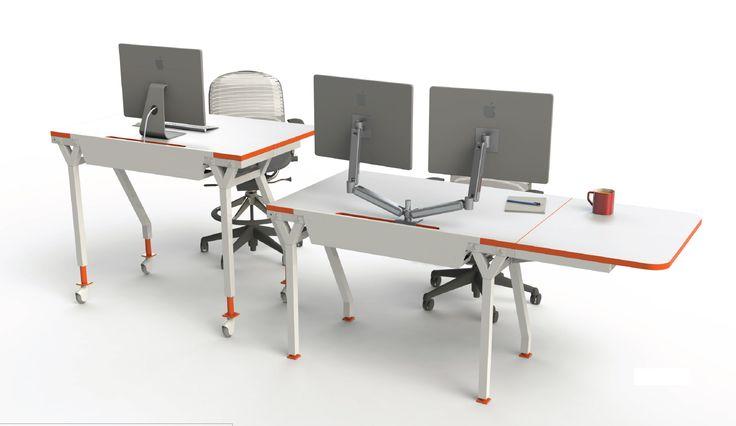 Architectural Retro Modern Table Desks For Open Collaborative Office E Shown In White With Vibrant Orange