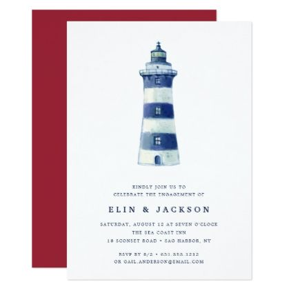 Lighthouse Beach | Engagement Party Invitation - watercolor gifts style unique ideas diy