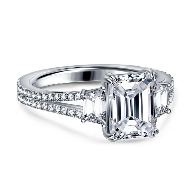Emerald Cut Diamond Three Stone Engagement Ring with Cathedral Split Shank in Platinum