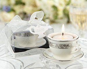 24 Silver Tea Light Tea Cup Candle Bridal Wedding Favors - Bridal Favors - Roses And Teacups