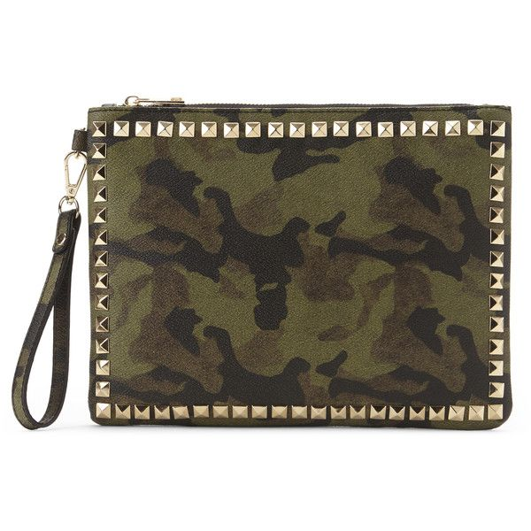 Nila Anthony Camo Studded Clutch (€24) ❤ liked on Polyvore featuring bags, handbags, clutches, white, wristlet purse, camouflage purse, wristlet clutches, studded wristlet and faux leather purse