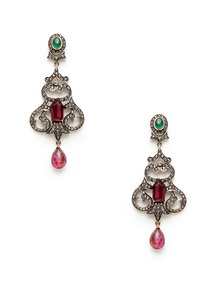 Tourmaline & Emerald Geometric Swirl Earrings by Amrapali at Gilt