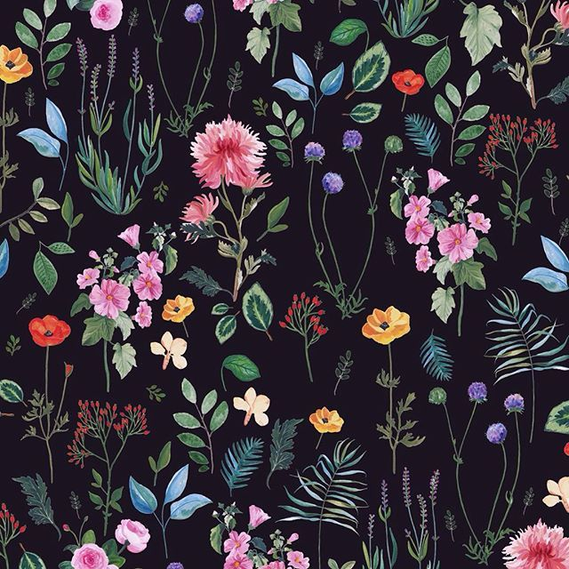 Botanical #print by Rosie Harbottle #floral #darkground #pattern