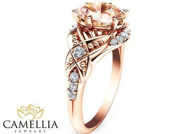 14K anillo de compromiso oro rosa Oval morganita anillo Oval corte puro anillo de compromiso anillo de compromiso único