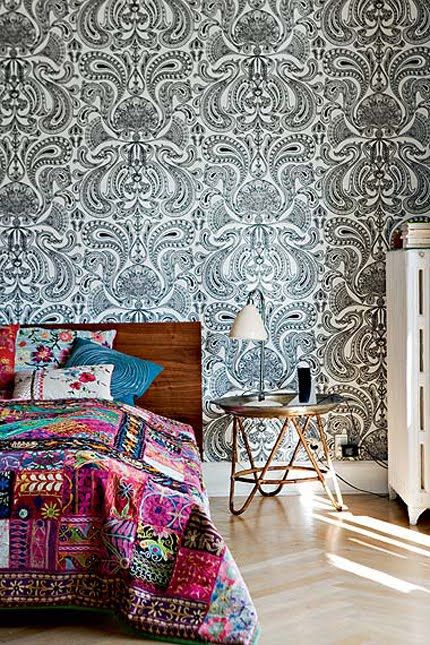 Best Bold Bohemian Chic Bedroom Paisley Feature Wall Timber 640 x 480