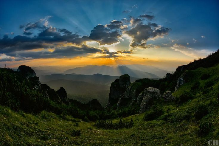 sunset over Ceahlau mountain by constantin.hurghea