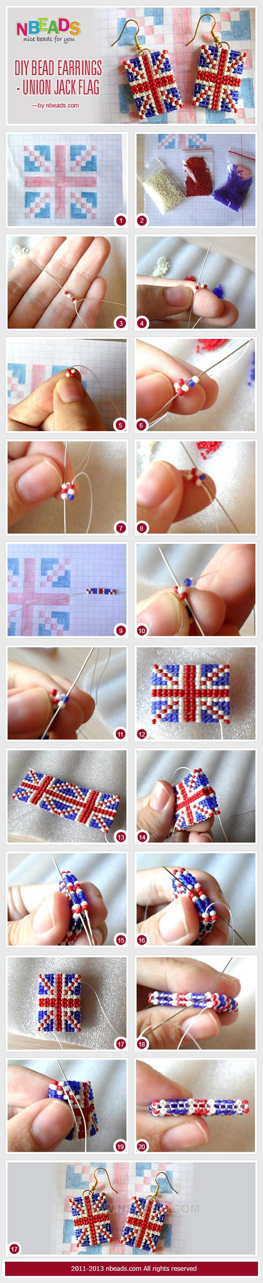 Diy bead earrings - union jack flag.  Make flag earrings of your nation, or string them as a necklace.  Looks like it's done with Herringbone stitch.  Maybe do in Square stitch or on a loom?