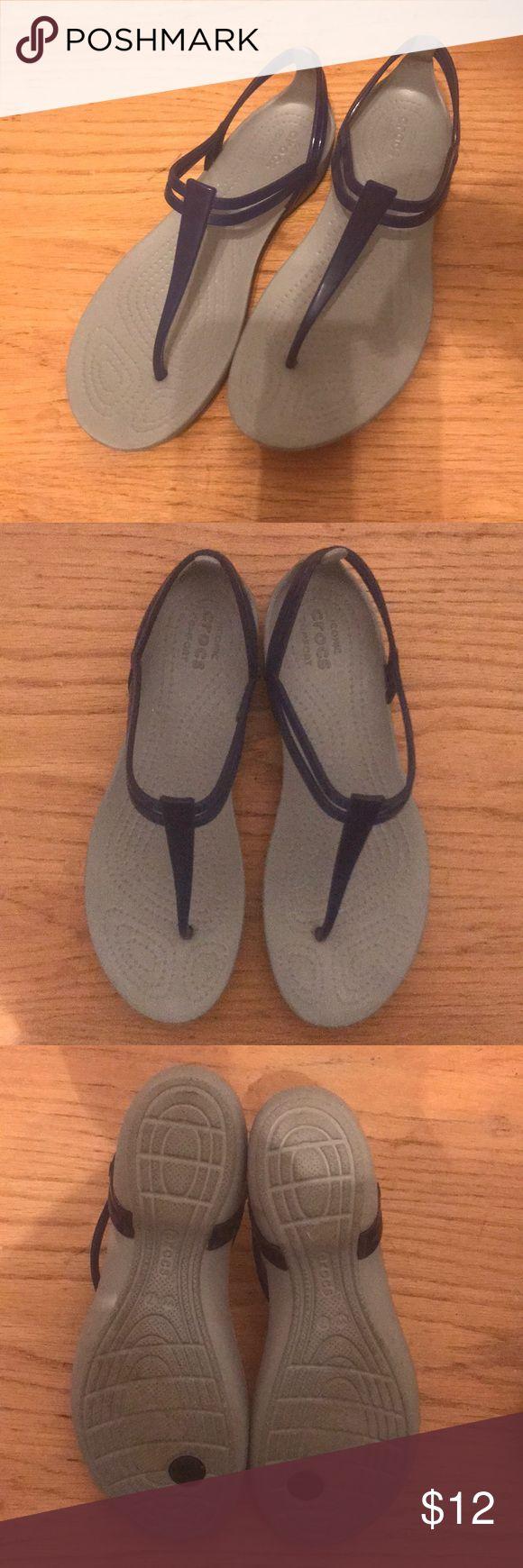 Blue crocs sandals. Size 7 Bright blue crocs thong sandals. Women's size 7. Comfy for summer. Waterproof for pool wear. CROCS Shoes Sandals