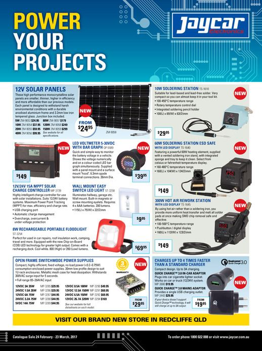 Jaycar Electronics Catalogue 24 February - 23 March 2017 - http://olcatalogue.com/je/jaycar-electronics-catalogue.html