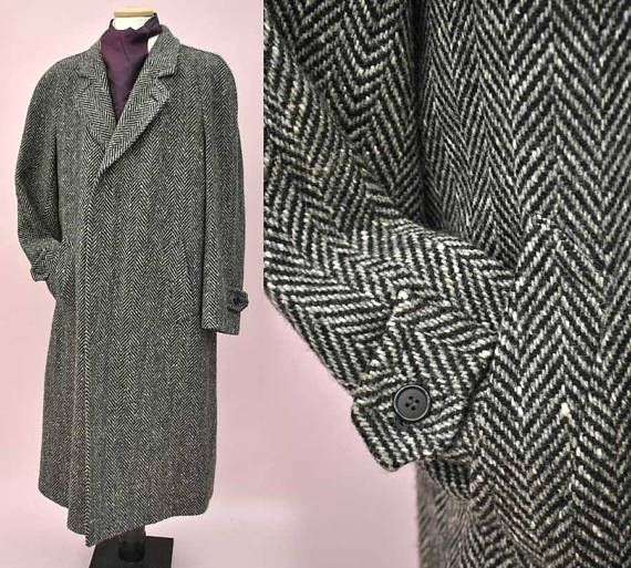 Mens Vintage Grey Herringbone Wool Tweed Overcoat 42