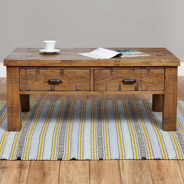Heyford Rough Sawn Oak Four Drawer Coffee Table -  - Coffee Table - baumhaus - Space & Shape - 1