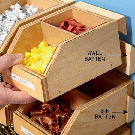 HOME DZINE Home DIY     Workshop Storage Bins on French Cleats