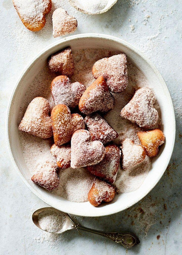 Spiced sugar heart doughnuts | BH&G Recipes - Doughnut recipe using Kitchenaid dough hook