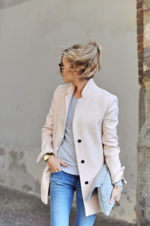 Classic coat and clothes in neutral colours