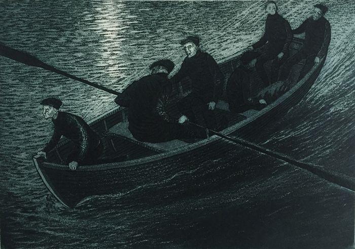 David Blackwood etching, Coming Ashore, 1982, 7 X 10 inches.