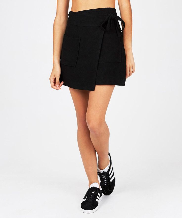 Alice In The Eve Assymetric Textured Wrap Skirt Black | Skirts | Clothing | Shop Womens | General Pants Online