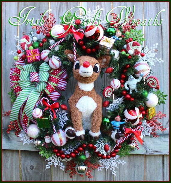 Classic Rudolph the Red Nosed Reindeer Wreath, by IrishGirlsWreaths