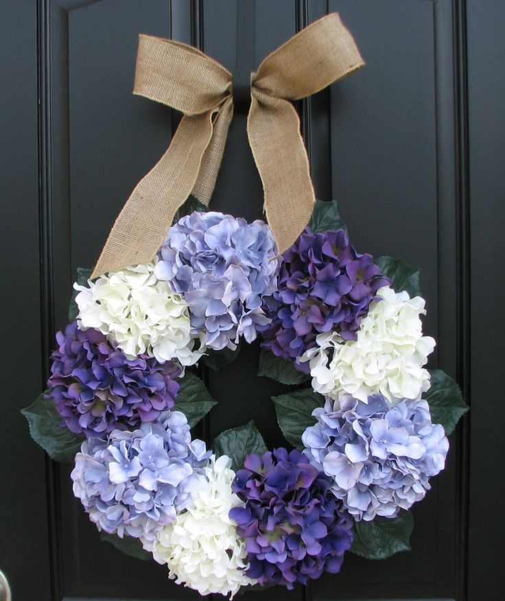 Lavender Hydrangea Wreath - So easy to make. This one is beautiful! ~~ I used a grosgrain wide wired ribbon in purple/violet/white, for mine.