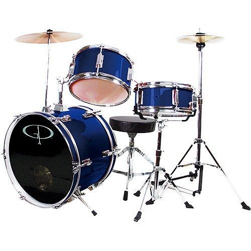 Junior Drum Set Cymbals Drumsticks Stands Child Kids Percussion Music Band Blue  #GPPercussion