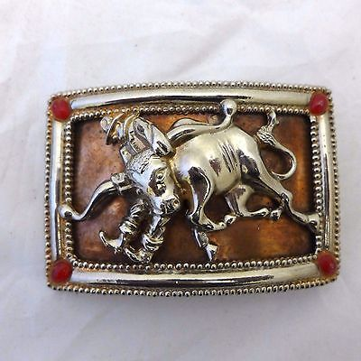 Vintage Rodeo Belt Buckle Copper Silver Plate Pat. Pending